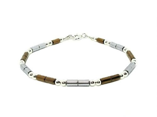 Slim Silver & Bronze Hematite Tubes Bracelet With Sterling Silver Beads